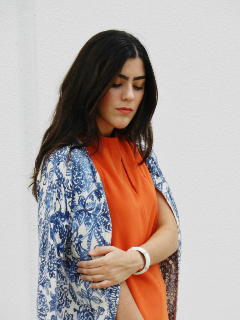 burnt orange & blue paisley