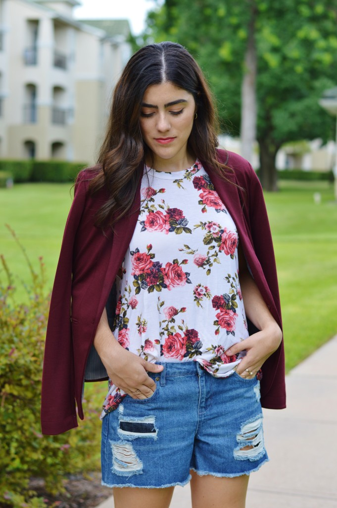 burgundy blazer and floral top