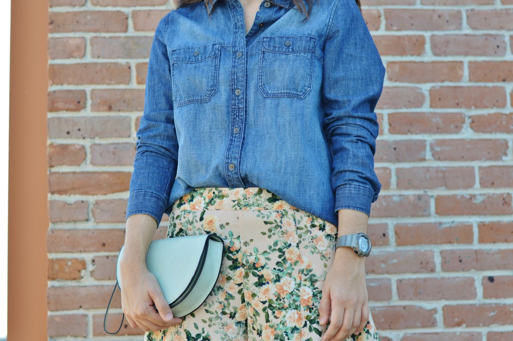 denim shirt and floral shorts