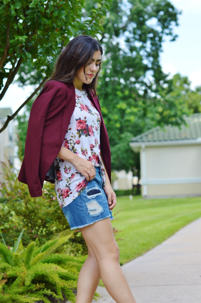 blazer and ripped shorts