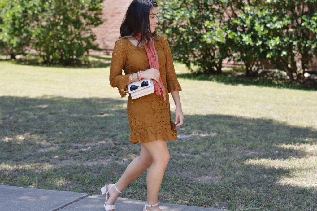 burnt mustard crochet dress